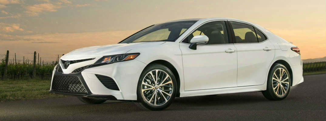 White 2018 Toyota Camry Exterior at Sunset