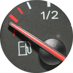 Close Up of Fuel Gauge with the Needle on E