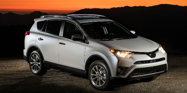 Silver 2017 Toyota RAV4 Limited Exterior at Dusk