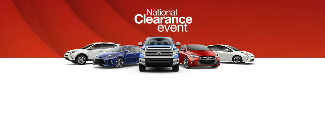 Toyota National Clearance Event Banner with Toyota Models on Red/Whit Background