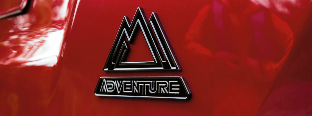 Close Up of 2018 Toyota RAV4 Adventure Badge on Red Exterior