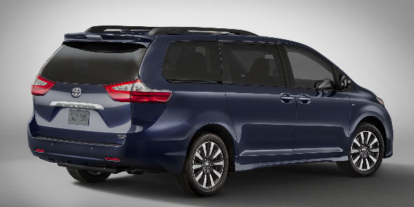 Purple 2018 Toyota Sienna Rear and Side Exterior on Gray Background