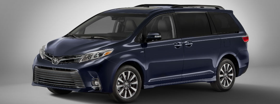 Purple 2018 Toyota Sienna Front and Side Exterior on Gray Background