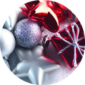Close Up of Silver, White and Red Christmas Ornaments