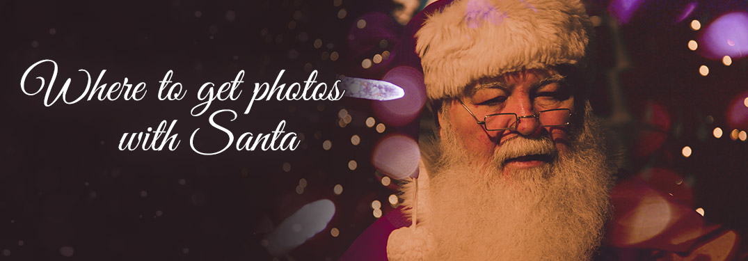 Santa Claus Against Purple Background with Christmas Lights and Text that Read Where to Get Photos with Santa