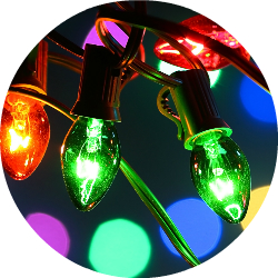 Close Up of Red and Green Christmas Lights