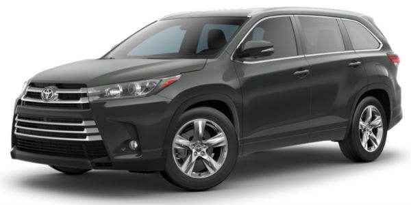 Alumina Jade Metallic 2018 Toyota Highlander Exterior on White Background