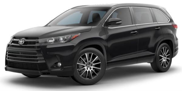 Midnight Black Metallic 2018 Toyota Highlander Exterior on White Background