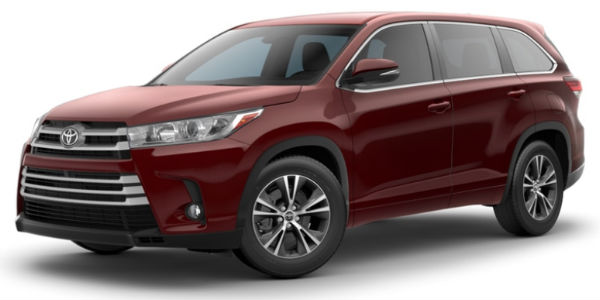 Ooh La La Rouge 2018 Toyota Highlander Exterior on White Background