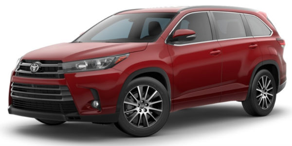 Salsa Red Pearl 2018 Toyota Highlander Exterior on White Background