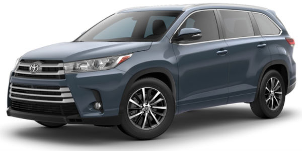 Shoreline Blue Pearl 2018 Toyota Highlander Exterior on White Background