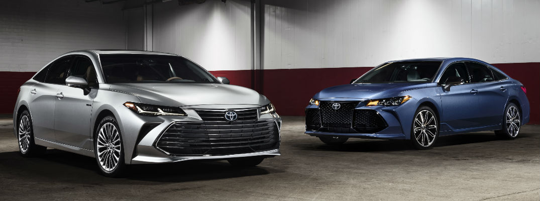 Silver and Blue 2019 Toyota Avalon Models in Parking Structure