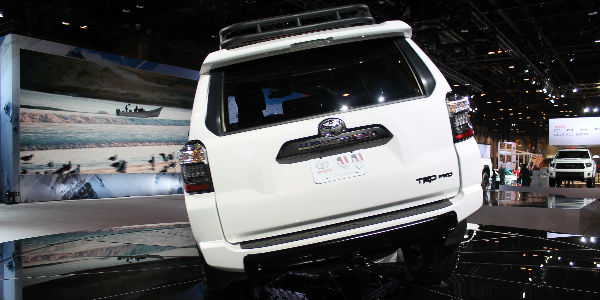Super White 2019 Toyota 4Runner TRD Pro Rear Exterior on Stage at Chicago Auto Show
