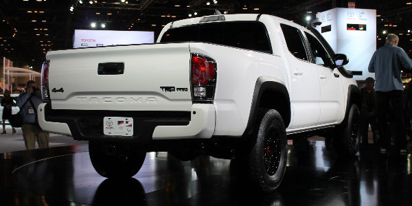 Super White 2019 Toyota Tacoma TRD Pro Rear Exterior on Stage at Chicago Auto Show