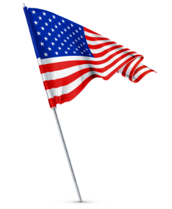 Animated American Flag on White Background