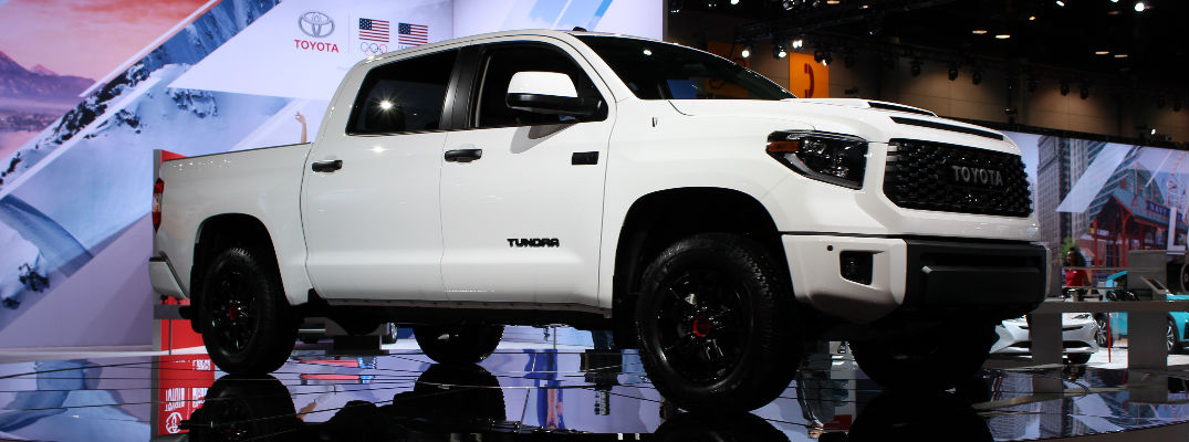 Super White 2019 Toyota Tundra TRD Pro Front and Side Exterior on Stage at Chicago Auto Show