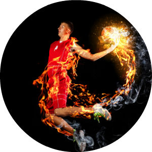 Graphic of Basketball Player in Red Uniform Dunking a Flaming Ball