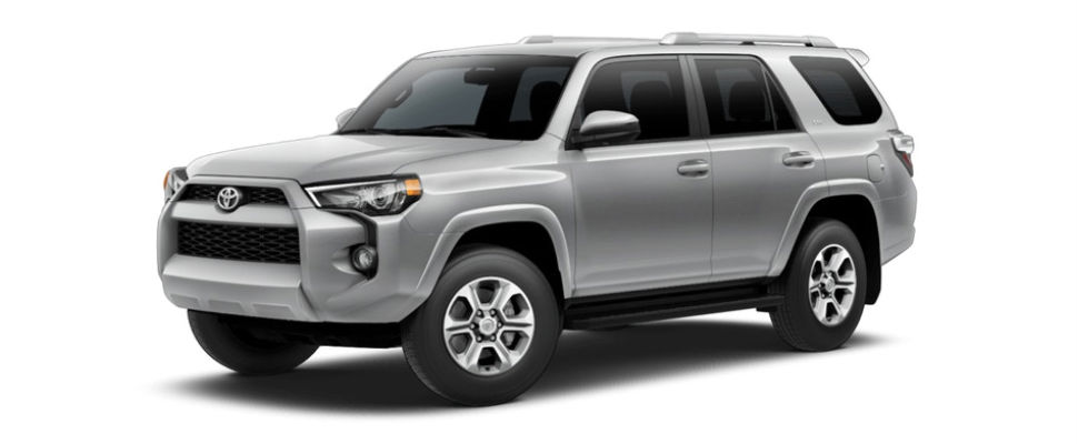 Classic Silver Metallic 2018 Toyota 4Runner Exterior on White Background