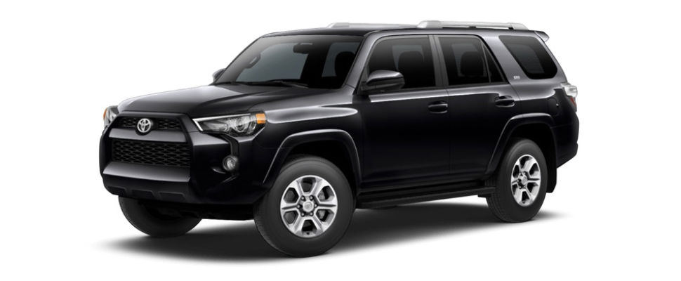 Midnight Black Metallic 2018 Toyota 4Runner Exterior on White Background
