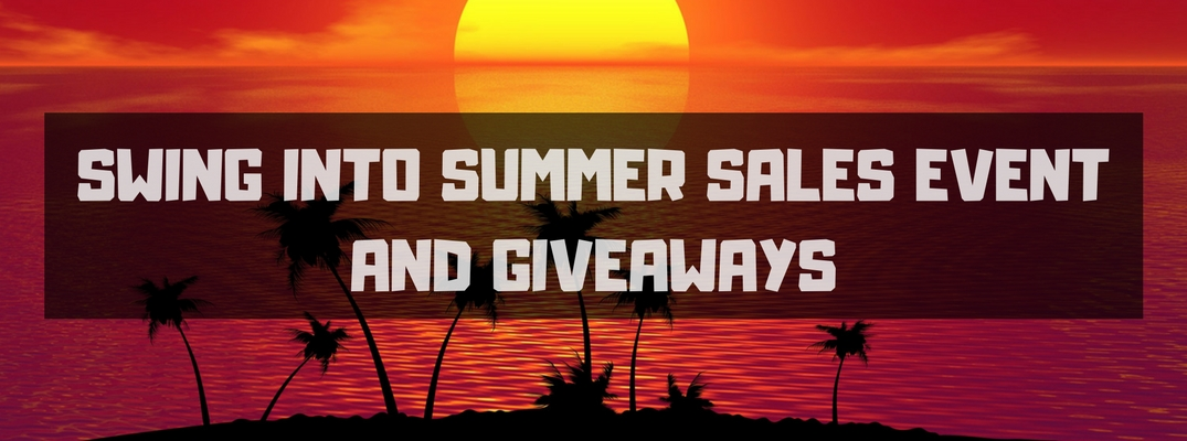 Red and Orange Sunset with Silhouette of an Island and Palm Trees with White Swing into Summer Sales Event and Giveaways Text