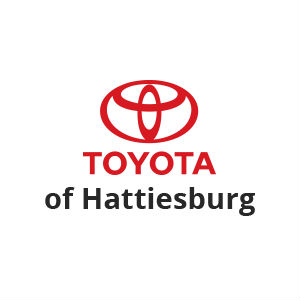 Red and Black Toyota of Hattiesburg Logo on White Background with Red Toyota Symbol and Black of Hattiesburg Text