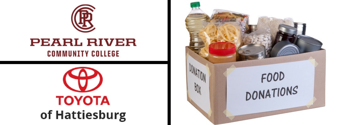 White Background with Pearl River Community College Logo, Toyota of Hattiesburg Logo and Box of Food Donations