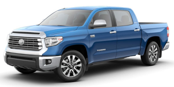 Blazing Blue Pearl 2018 Toyota Tundra on a White Background