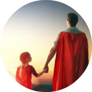 Superdad with Red Cape Holding Hands with His Daughter in a Cape