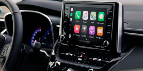 Close Up of 2019 Toyota Corolla Hatchback Toyota Entune 3.0 Touchscreen with Apple CarPlay