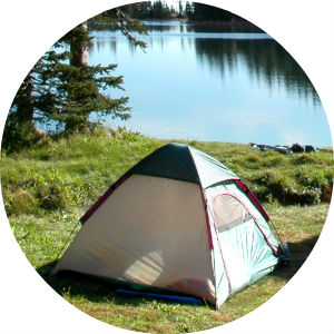 Picture of a Tent Next to a Lake