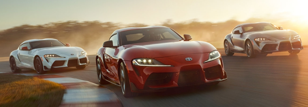 three 2020 supras driving on track